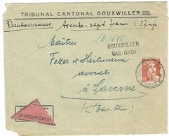BOUXWILLER 17.1.1946 Lettre Recommandée Contre Remboursement Cachet Provisoire Linéaire 2 Lignes LR1645 - Marcophilie (Lettres)