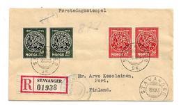 Nor182/ NORWEGEN - Volksmuseum 1945 Frankiert, Satz In Paaren, Zensiert, Stavanger Nach Finnland - Covers & Documents