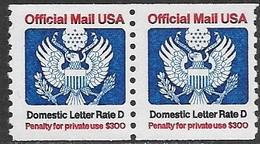 US  1985  Sc#O139 Domestic Letter Rate D Coil Pair  MNH  2016 Scott Value $10.50 - Dienstpost