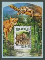 Leopard Leopards Lion Lions BigCats Animals Mozambique MNH S/S Stamp 2013 - Roofkatten