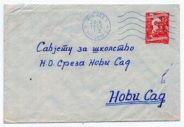 1956 YUGOSLAVIA, MONTENEGRO, TITOGRAD TO NOVI SAD, INDUSTRY, 15 DINAR STATIONERY COVER, GRAY PAPER INSIDE - Postal Stationery