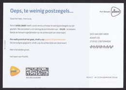Netherlands: Official Postage Due Form, 2020, 'To Pay: You Sent An Underpaid Cover', Taxed To Sender (traces Of Use) - 2013-... (Willem-Alexander)