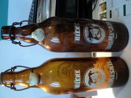 PAIRE DE VIEILLES BOUTEILLES DE BIERE DUMESNIL BOCK BIERE PARISIENNE. 28 RUE DAREAU PARIS XIV. SUCCESSEURS DE LA BRASSE - Andere Flessen