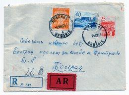 1962 YUGOSLAVIA,SERBIA,BRUSNIK TO BELGRADE,30 DINAR POSTAGE DUE STAMP USED AS POSTAL,REGISTERED,AR,STATIONERY COVER - Postal Stationery