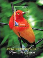 Papua New Guinea 2010. Flame Bowerbird (Sericulus Aureus) (MNH OG) S/S - Papua New Guinea