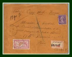 Devant Lettre Chargée VD 5000 Francs De Gramat Type 04 1917 / N° 121 + 142 > Paris - Poststempel (Briefe)