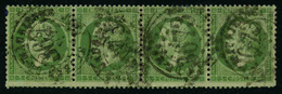 FRANCE - YT 20 X4 - SECOND EMPIRE NAPOLEON III - BANDE DE 4 TIMBRES OBLITERES - 1862 Napoleone III