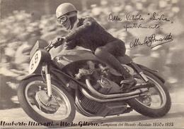 UMBERTO MASETTI SU GILERA CAMPIONE DEL MONDO 1952 UMBERTO MASETTI ON GILERA WORLD CHAMPION 1952   (GENN201073) - Motociclismo