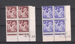 1944  - BLOC DE 4 TIMBRES NEUFS  N° 653 (6/11/44) ET 656 (11/10/44) - TYPE IRIS    COIN DATE  - COTE 2.50 EUROS - Angoli Datati