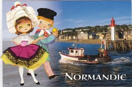 CARTE BRODEE: NORMANDIE ,phare Et Port - Ricamate