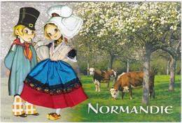 CARTE BRODEE: NORMANDIE: Les Pommiers - Brodées