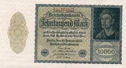 GERMANIA  10000 MARK 1922  P-72  UNC - [ 3] 1918-1933: Weimarrepubliek