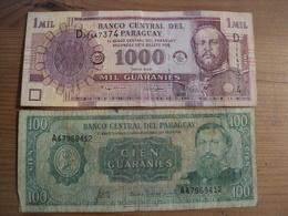 PARAGUAY. LOT DE 2 BILLETS DE BANQUE. 100 / 1000 GUARANIES. ANNEES 80? / 2005 - Paraguay