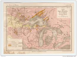 CARTE LES MINES DE MÉTAUX RÉGION MÉTALLIFERES DU LAC SUPÉRIEUR SIMONIN ROGERS MARCOU - Topographische Kaarten