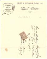 DOMAINE DE SAINT-BAILLON  - PAUL VENTRE -TUILERIES ET BRIQUETERIE   FLASSANS  VAR  1894.   RECU - Francia