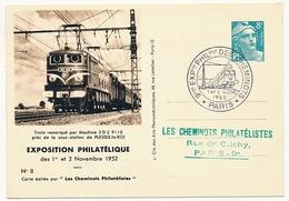 FRANCE - Entier CP Timbré S/Commande 8F Gandon - Cheminots Philatélistes 1952 - Machine 2D2 9110... - Postal Stamped Stationery