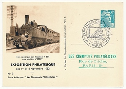 FRANCE - Entier CP Timbré S/Commande 8F Gandon - Cheminots Philatélistes 1952 - Machine V 627... - Postal Stamped Stationery