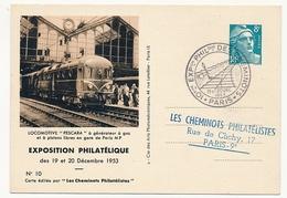 FRANCE - Entier CP Timbré S/Commande 8F Gandon - Cheminots Philatélistes 1953 - Locomotive Pescara... - Postal Stamped Stationery