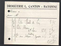 Bayonne (64 Pyrénées Atlantiques) Petite Facture DROGUERIE L CANTON  (PPP21475) - Francia