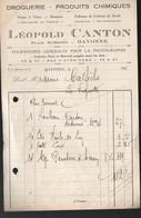 Bayonne (64 Pyrénées Atlantiques) Petite Facture DROGUERIE Léopold CANTON  (PPP21476) - Francia