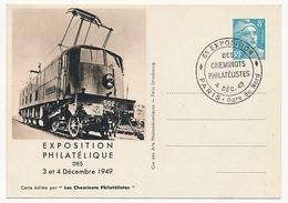 FRANCE - Entier CP Timbré S/Commande 8F Gandon - Cheminots Philatélistes 1949 - Motrice électrique... - Postal Stamped Stationery