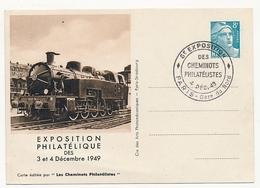 FRANCE - Entier CP Timbré S/Commande 8F Gandon - Cheminots Philatélistes 1949 - Locomotive Vapeur ... - Postal Stamped Stationery