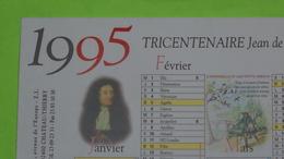 DOCUMENT CALENDRIER 1995 - PUB Jean De LA FONTAINE Ses Fables Et Château Thierry - 24 X 16 - Très Bon état / 258 - Calendriers