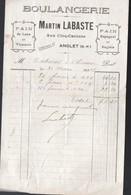 ANGLET (64 Pyrénées Atlantiques) Petite Facture MARTN LABASTE Boulangerie  1918 (PPP21480) - Francia