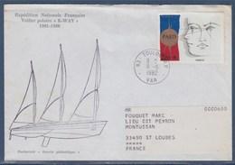 = Voilier Polaire K-Way Expédition Nationale Française Toulon 11.5.82 N°2142 Enveloppe Numéroté Et Texte D'explication - Polar Ships & Icebreakers