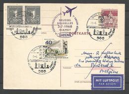 Aerophilatelie - Berlin - Luftpost - 1968 - Solingen Schach / Echecs - Erstflug Sabena Brüssel-Niamey -Regina Martyrum - [5] Berlijn