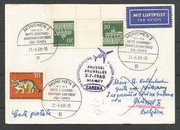 Aerophilatelie - Berlin - Luftpost - 1968 - München Eurospace - Erstflug Sabena Brüssel-Niamey - Chat, Katze - [5] Berlijn