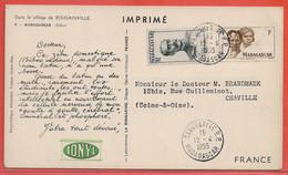 MADAGASCAR CARTE PHARMACEUTIQUE DE 1955 DE TANANARIVE POUR CHAVILLE FRANCE - Madagascar (1889-1960)