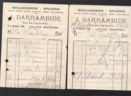 ANGLET (64 Pyrénées Atlantiques) Petite Facture J DARRAMBIDE Boulangerie épicerie Lot De 2 (PPP21483) - Francia