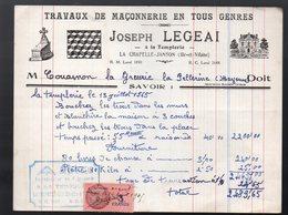 La Chapelle Janson (35 Ille Et Vilaine) Facture  JOSEPH LEGEAI Maçonnerie 1945  (PPP21484) - Francia