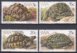 Südwestafrika SWA Namibia 1982 Tiere Fauna Animals Reptilien Reptiles Schildkröten Turtles Geochelone, Mi. 516-9 ** - África Del Sudoeste (1923-1990)