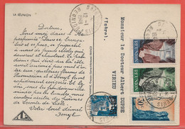 REUNION CARTE PHARMACEUTIQUE DE 1949 DE SAINT DENIS POUR VIRIEU FRANCE - Reunion Island (1852-1975)