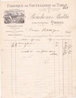 63-Boucheras-Battu... Manufacture De Coutellerie.de Table...Thiers.(Puy-de-Dôme)..1889 - Francia