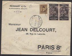 EGYPTE: Enveloppe Avec 3 Mill + 15 Mill Perforés R/&C REINHART & C° Oblt ALEXANDRIE > PARIS - 1915-1921 Protectorat Britannique