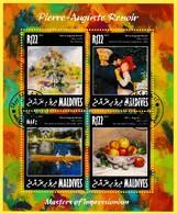 Bloc Oblitéré De 4 T.-P. - Maîtres De L'impressionisme Pierre-Auguste Renoir - N° 5117-5120KB (Michel) - Maldives 2014 - Maldivas (1965-...)