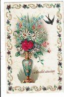 CPA Carte Postale Avec Un  Très Léger Relief France-Amitié Sincère Avec Un Vase Fleuri-1908 VM12149 - Animaux Habillés