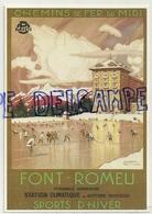 Pyrénées Orientales. Affiche. Chemins De Fer Du Midi. Font - Romeu. Sports D'hiver. T. - G. Roux 1923.  1992 - France