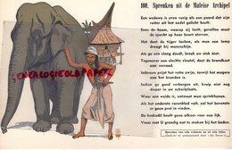 BUVARD ELEPHANT -  PROVERBE MALAISIE- SPREUKEN UIT DE MALEISE ARCHIPEL - RARE BUVARD RIGIDE- MALAISIE - Animales