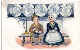 CPA  - Couple D'enfants Sur Un Banc (Belgique)  -  Embossée Ou Gaufrée  -  écrite  - - Fancy Cards