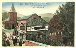 CPSM - Belgique - Trois-Ponts - A La Cascade De Coo - Eglise Et Restaurant Du Vieux Moulin - Trois-Ponts