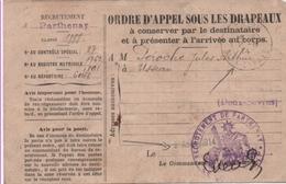 Mobilisation Générale Du 1er Août 1914. Carte Postale: Ordre D'appel Sous Les Drapeaux. (2 Scannes) - Marcophilie (Lettres)