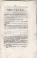 Bulletin Des Lois 1141 De 1844 Pont Sur La Seine à Maison Rouge Et Sur Dordogne à Carennac Lot Avec Tarif Péage - Décrets & Lois