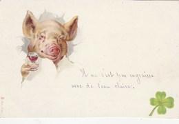 CPA Lithographiée Animal Humanisé Position Humaine Cochon Porc Pig Ripailles Alcool Vin Illustrateur (2 Scans) - Cerdos