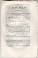 Bulletin Des Lois 1143 De 1844 Brevets Invention ( 109 Cessions ) Soeurs à Veyrau Aveyron Et Heuilley Haute Marne - Décrets & Lois