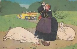 CPA Paysanne Automobile Voiture Véhicule Conducteur Ecraseur De Cochon Porc Pig Truie Illustrateur J. MATTET (2 Scans) - Cerdos