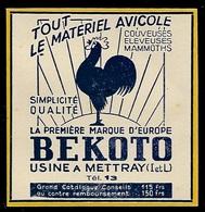 PUBLICITE DE 1950  --  MATERIEL AVICOLE BEKOTO USINE A METTRAY   7A383 - Vieux Papiers